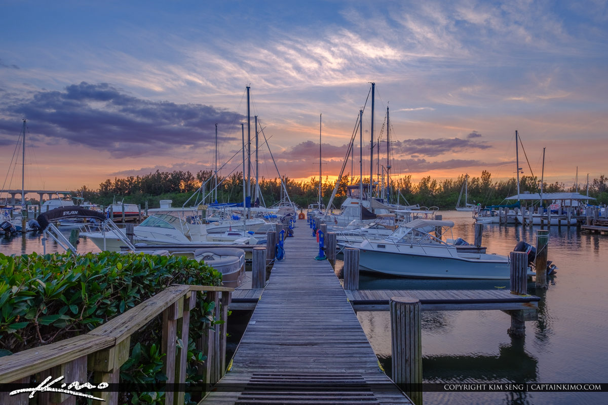 Sunset at Boat Dock Vero Beach City Marina Vero Beach Florida