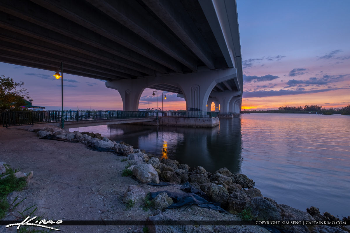 Sunset Under Merril P Barber Bridge Vero Beach Florida