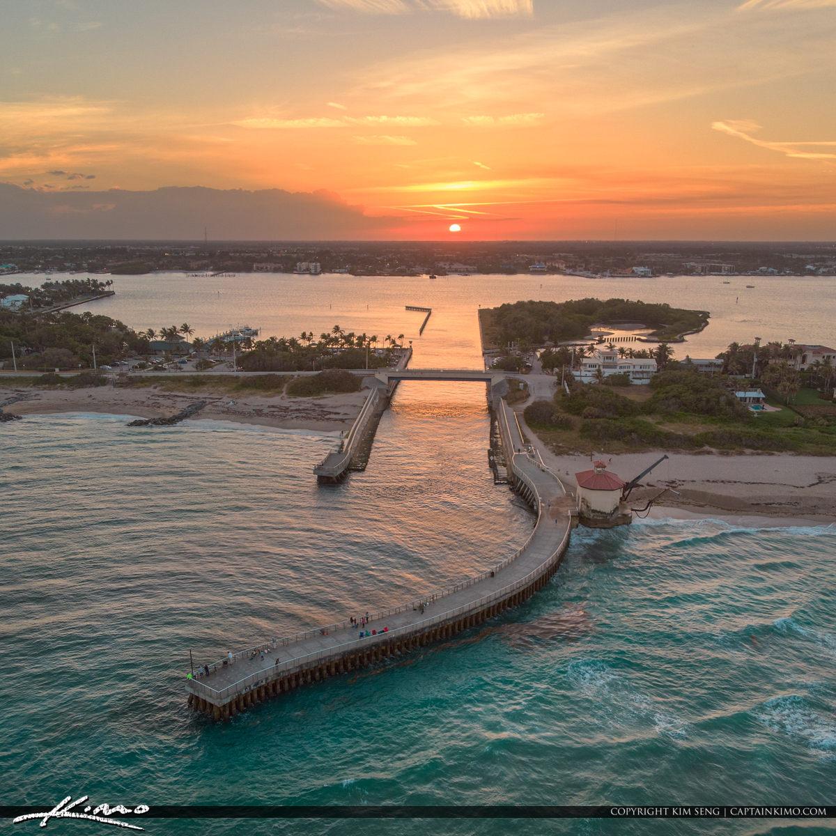 Boynton Beach Inlet Sunset Aerial Palm Beach County