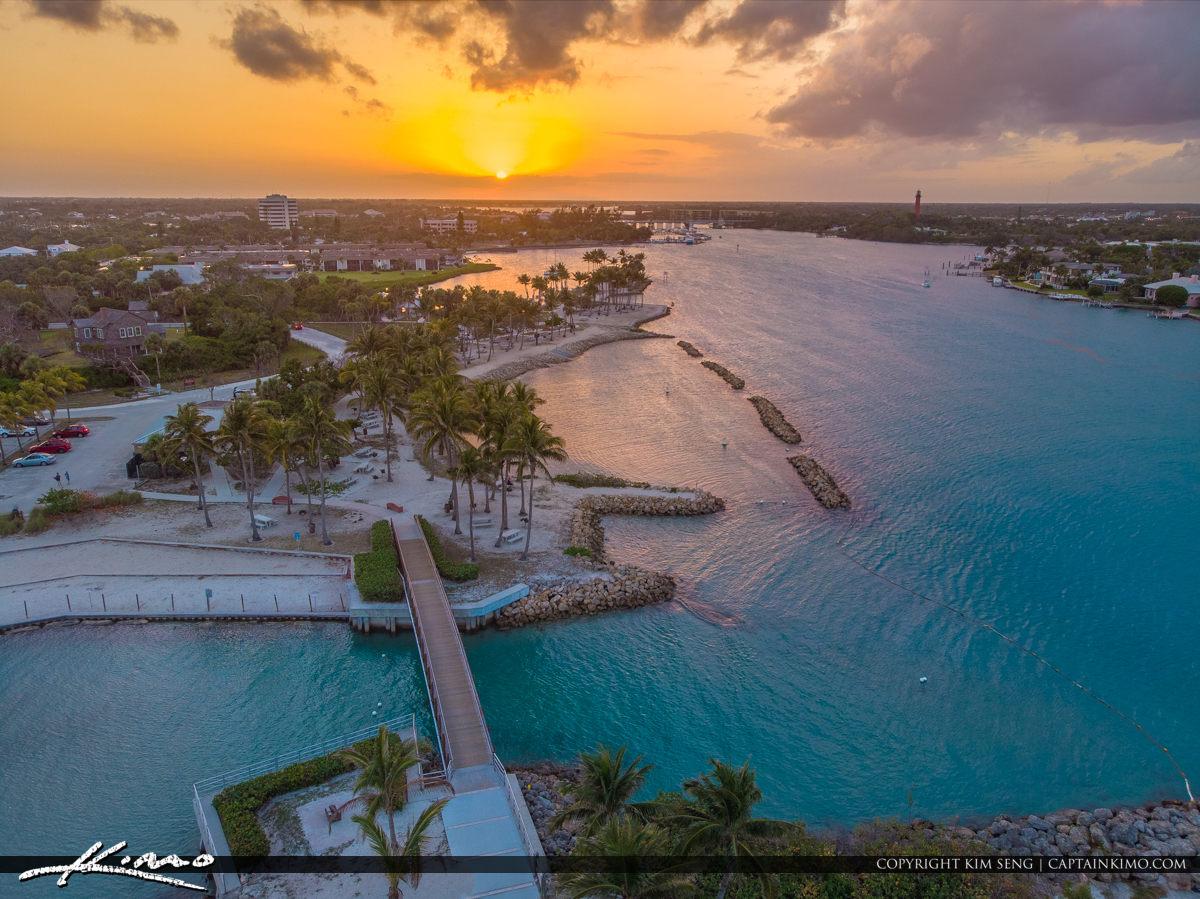 Dubois Park Sunset Blue Water Aerial Jupiter Florida