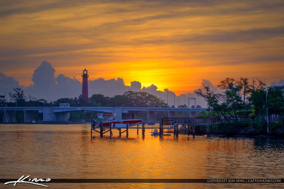Jupiter Lighthouse Sunrise Boat at Dock