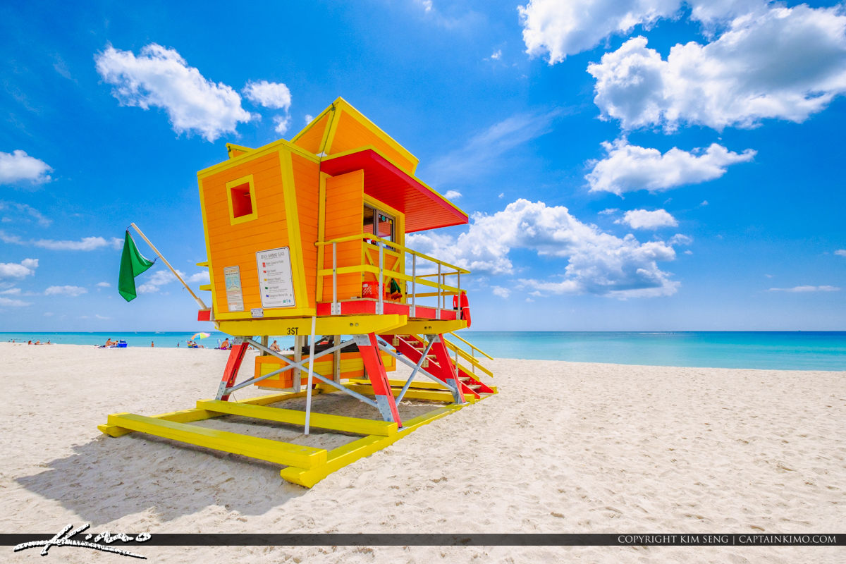 Yellow Orange Lifeguard Tower South Beach Miami Florida