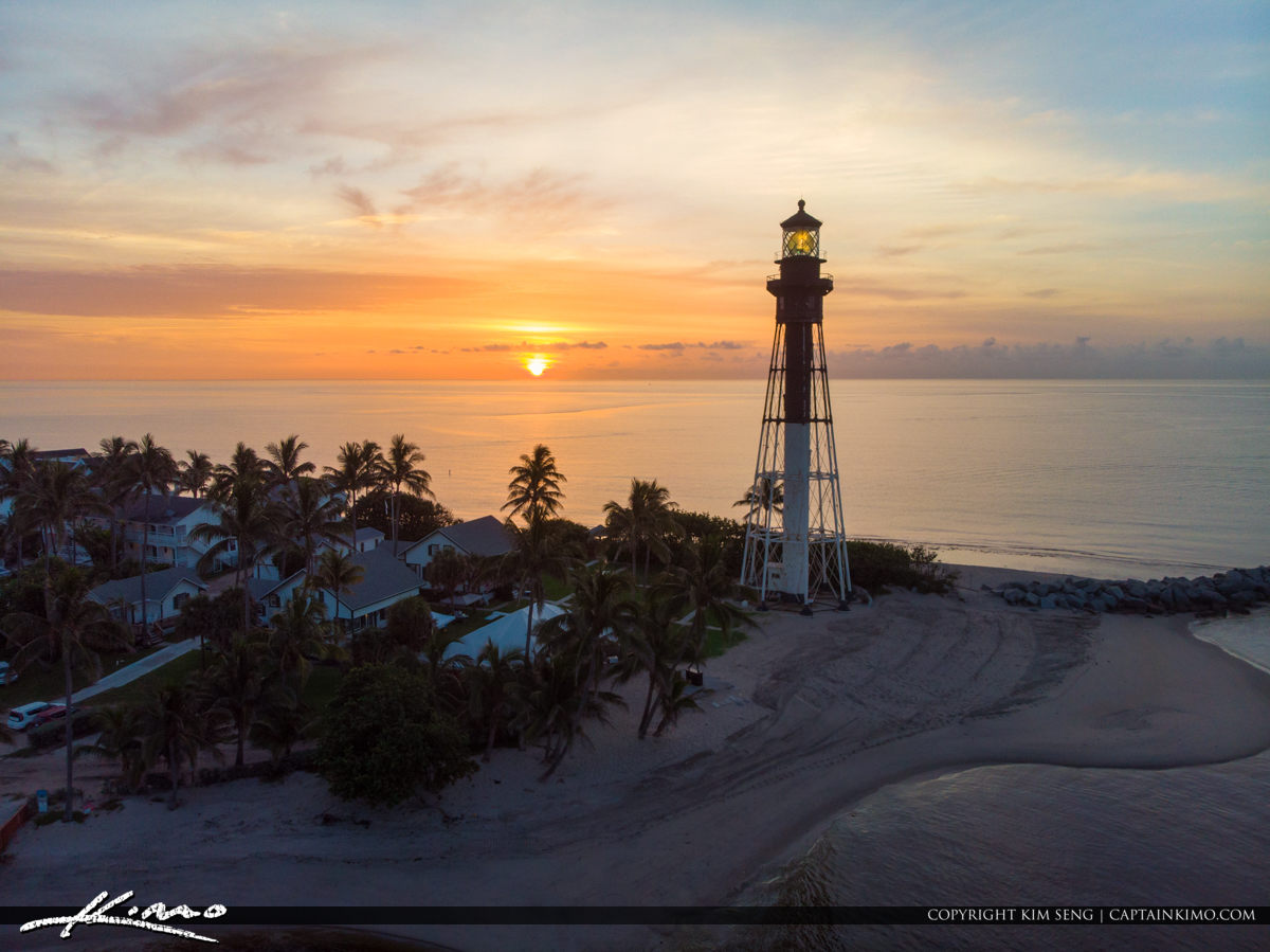 Hillsboro Lighthouse Sunrise Over Ocean Aerial