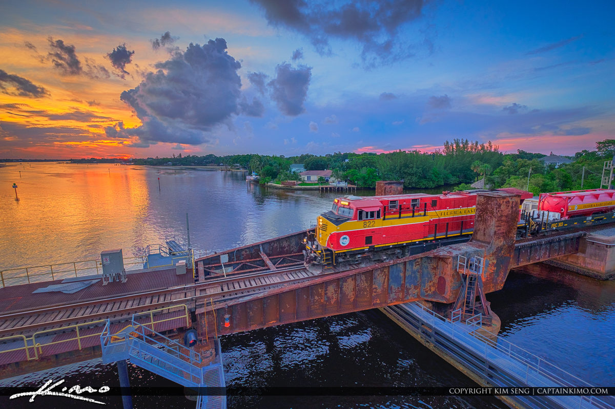 Florida East Coast Railway Train Jupiter Florida Waterway