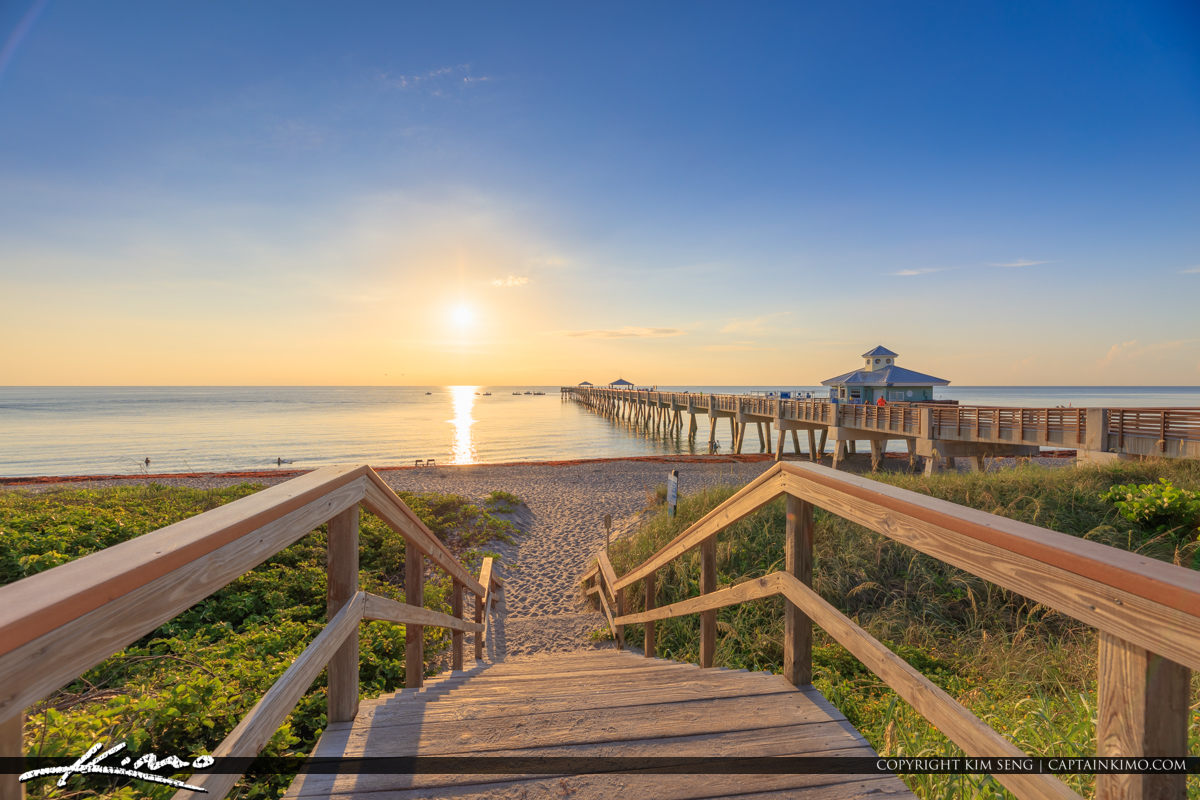 JUno Pier Sunrise Bright Morning at the Stairs