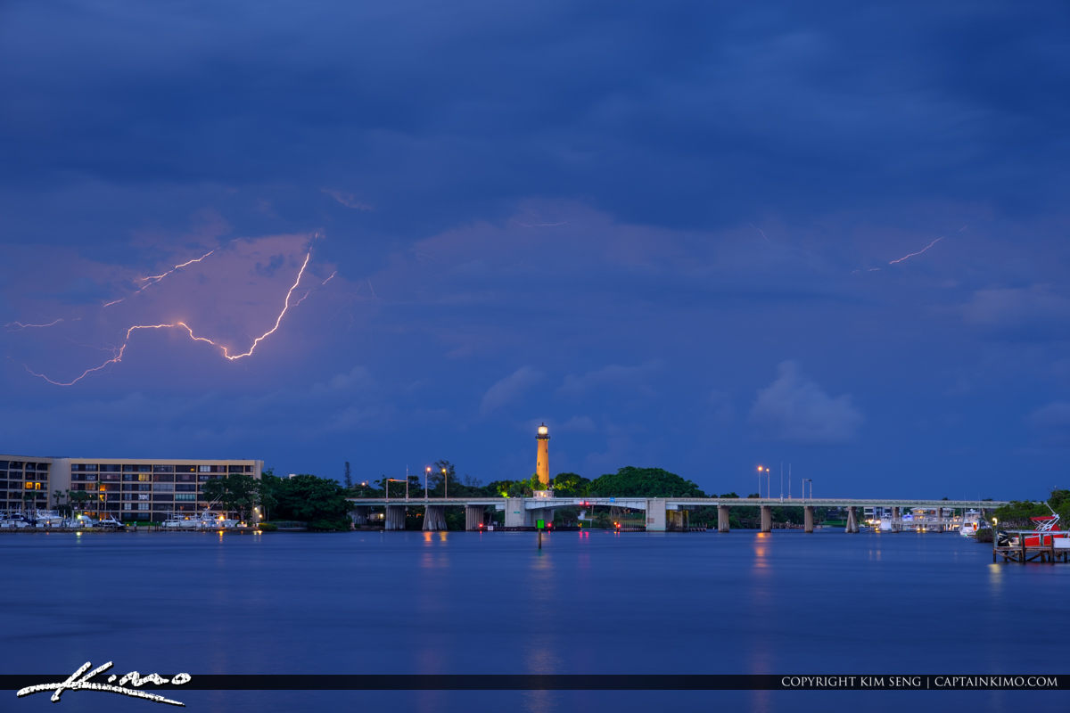 Lightning Storm Over the Jupiter Lighthouse North Palm Beach Cou