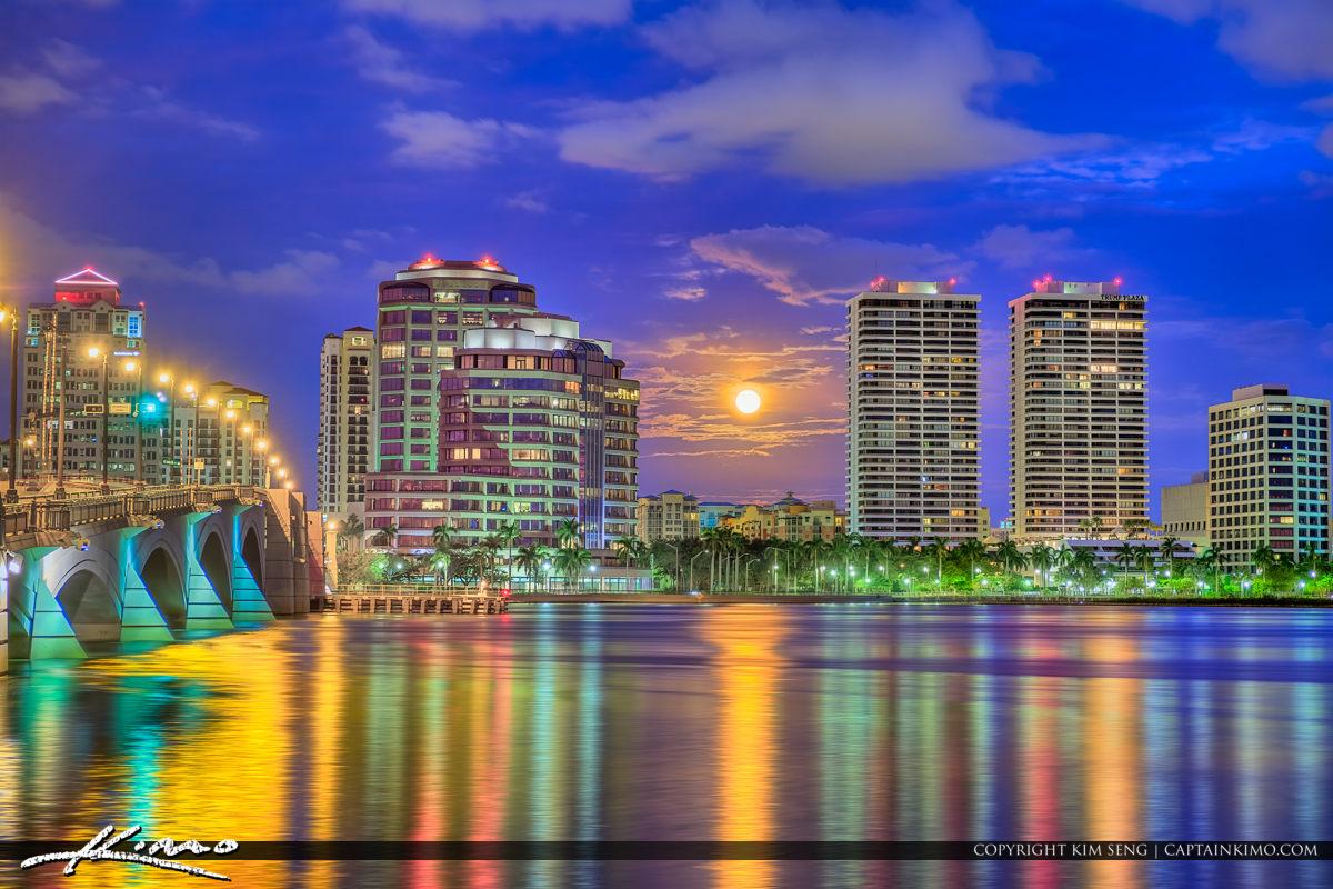 West Palm Beach Skyline Moon Setting Trump Tower Plaza
