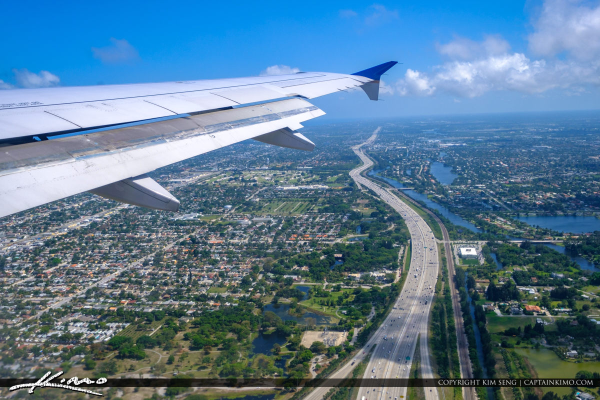 Airplane Wing Above I-95 Palm Beach County Florida WPB