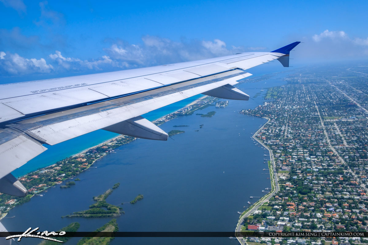 Airplane Wing West Palm Beach Over Intracoastal Waterway
