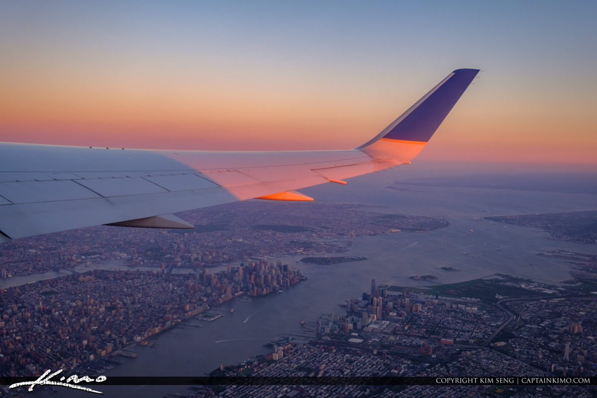 Airplane Wing New York City Take Off