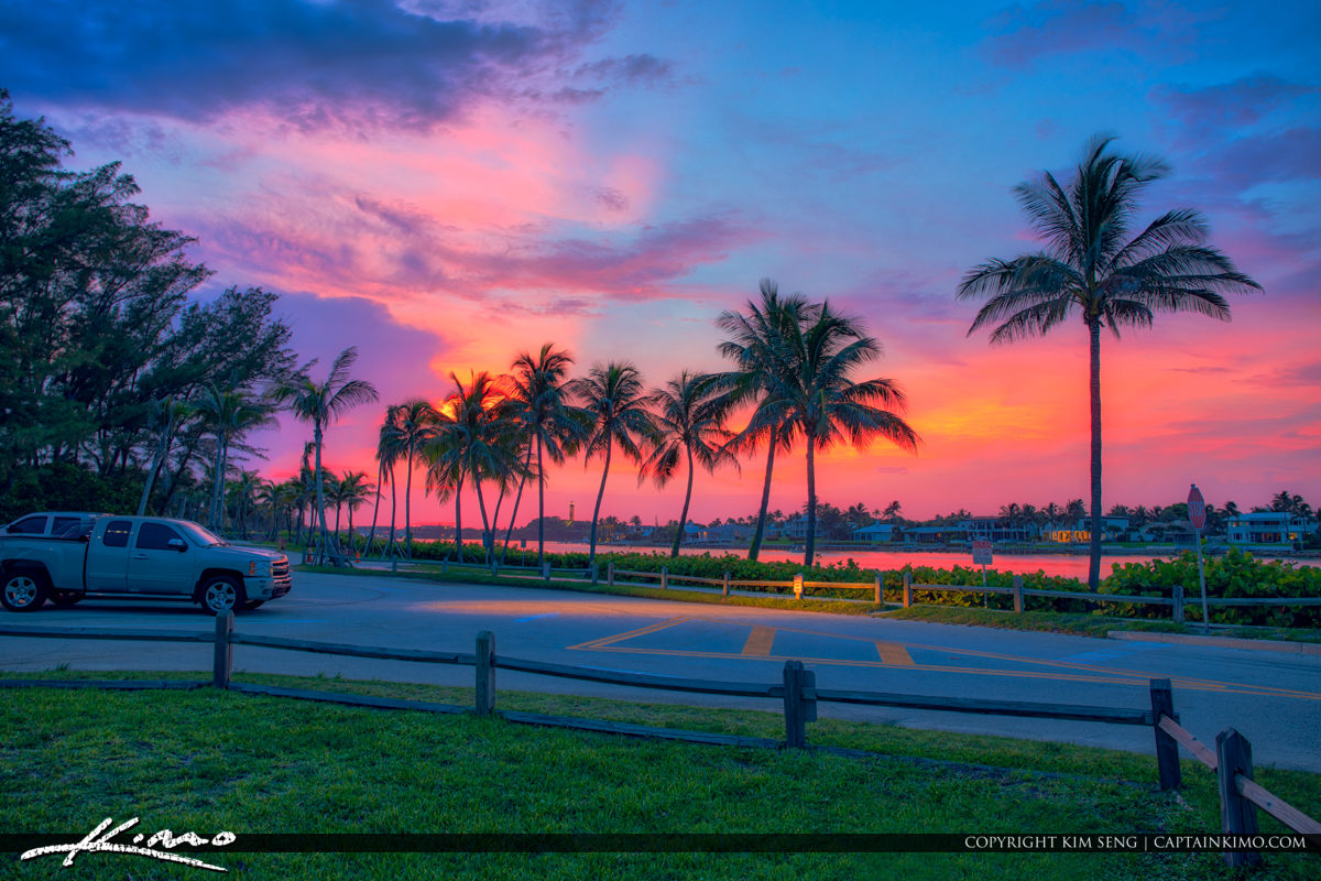 Jupiter Inlet Parking Lot at Sunset by Coconut Trees