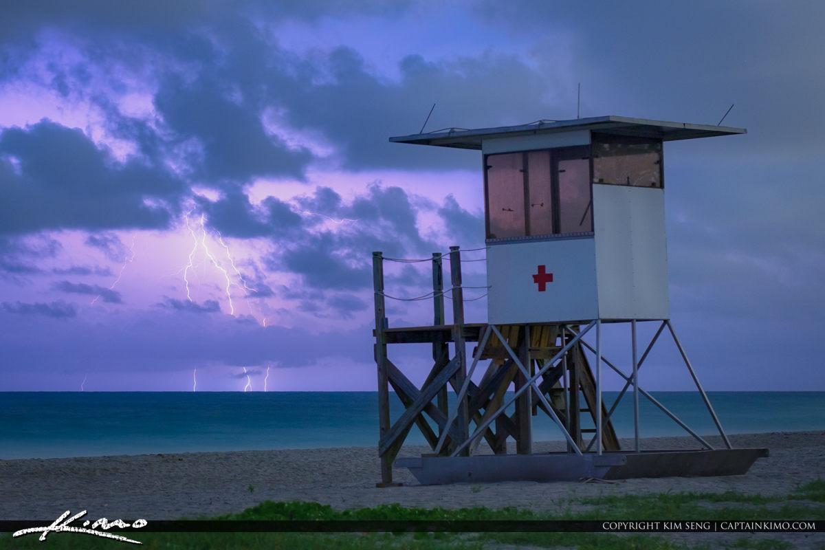 Jupiter Inlet Lifeguard Tower Lightning Strike at Beach