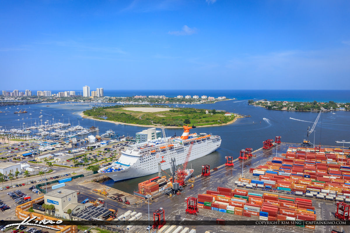 Port of Palm Beach Florida Aerial View from Helicopter