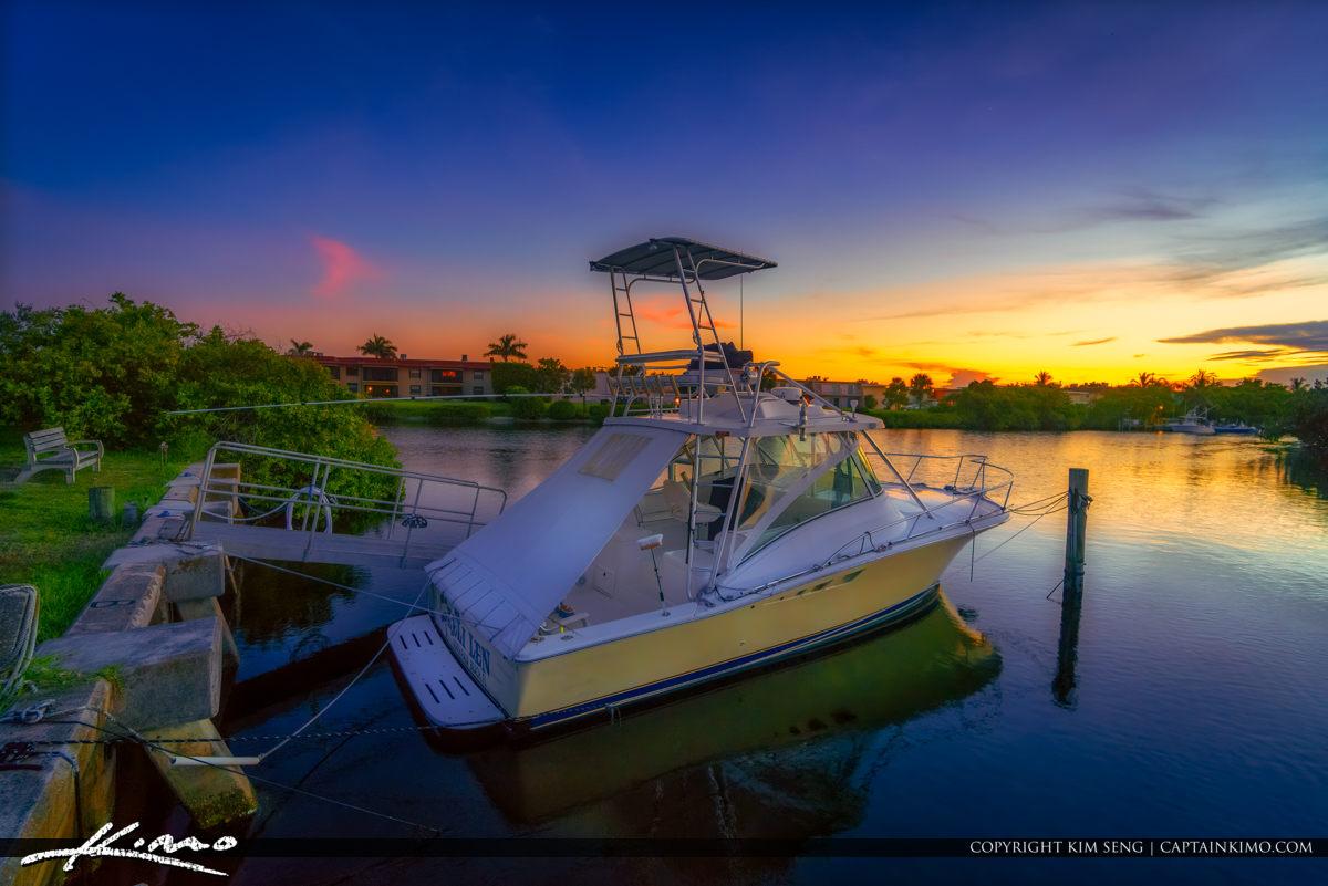 Boat at Sunset North Palm Beach Waterway