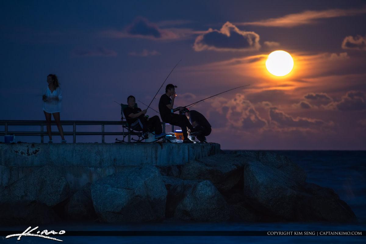 Jupiter Inlet Moonrise Fishing