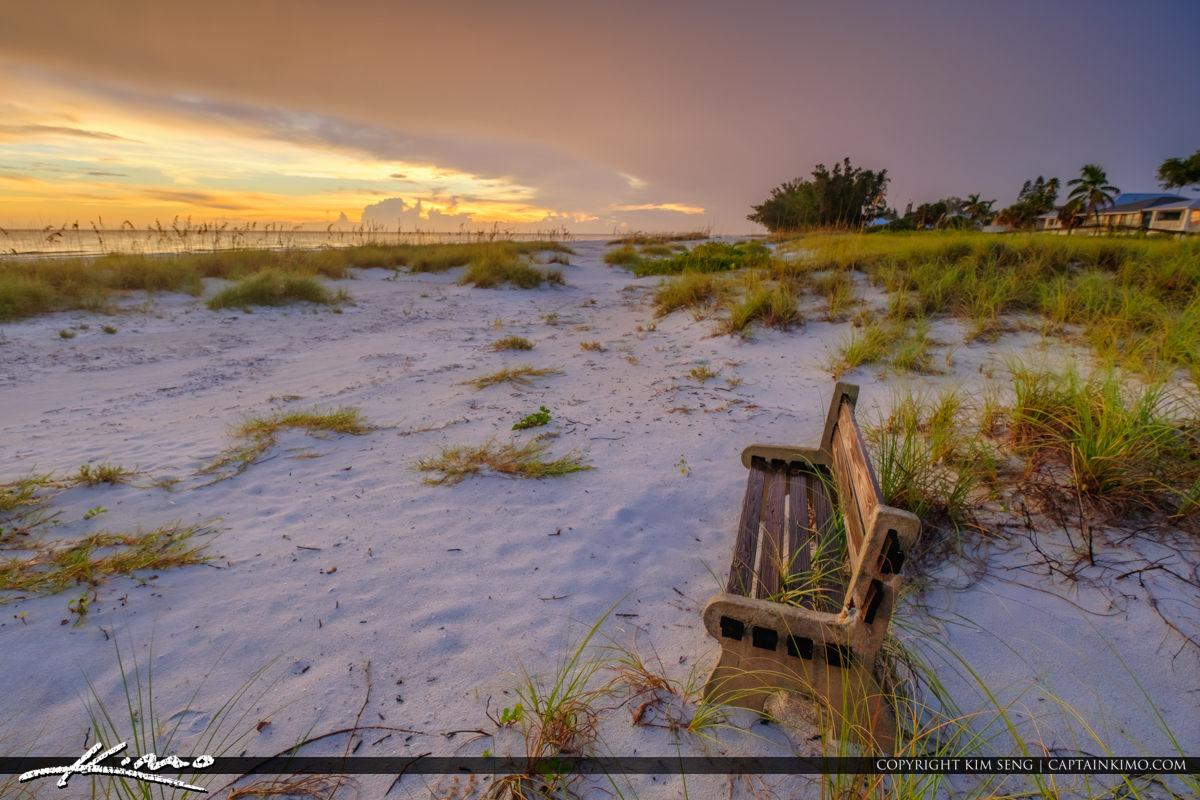 Bench at Sunset Anna Maria Manatee County Florida