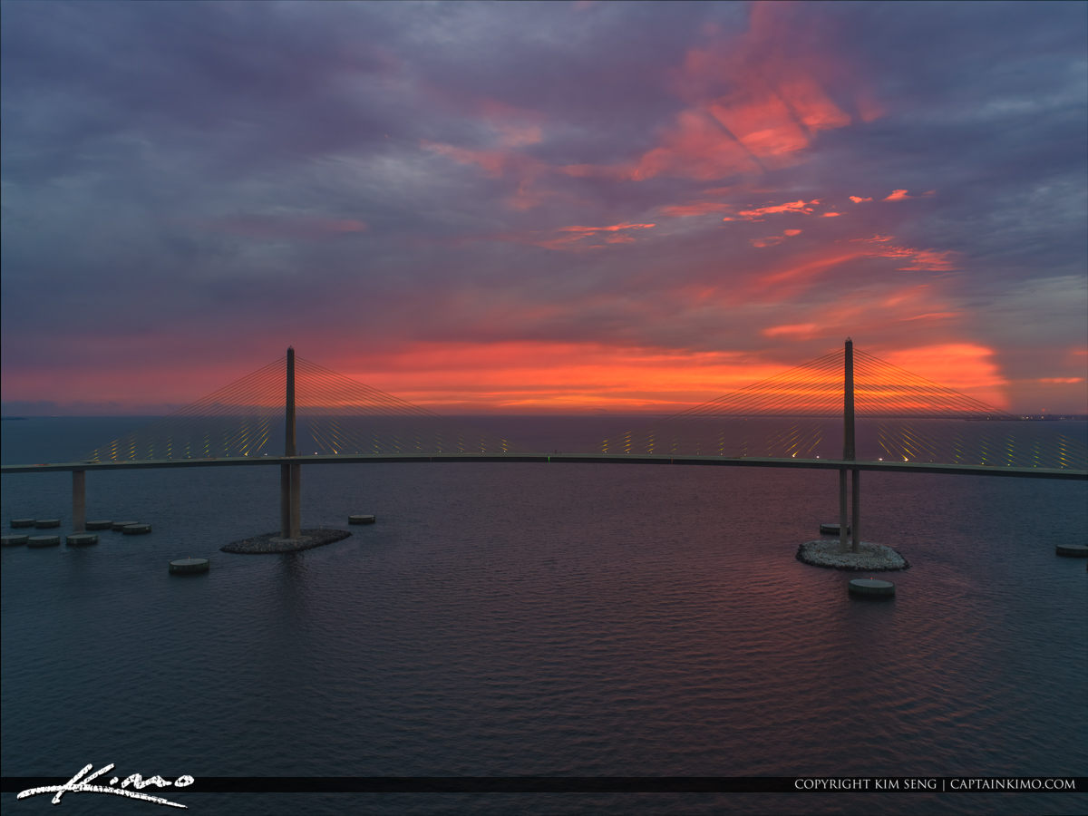Skyway Bridge Cloud Colors at Sunrise