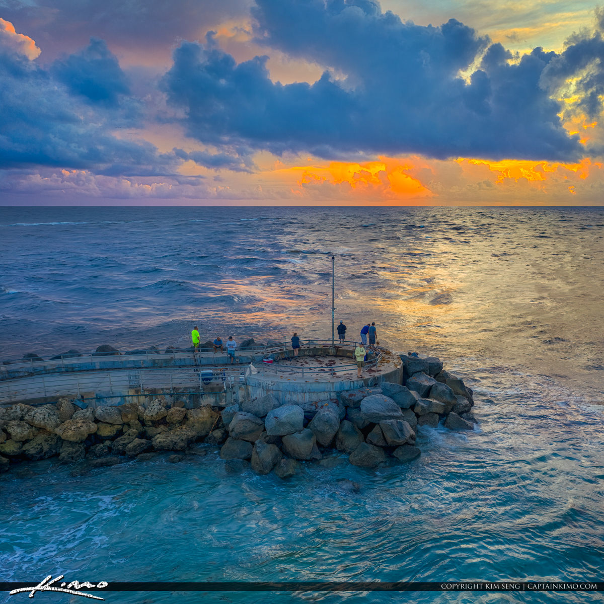 Jupiter Inlet Sunrise Cloudy Morning Colors Aerial Drone Photogr