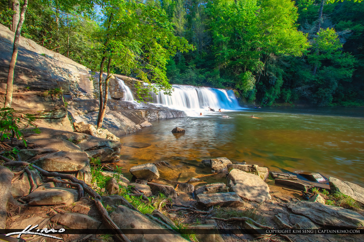 Dupont State Forest North Carolina Waterfall With People Playing