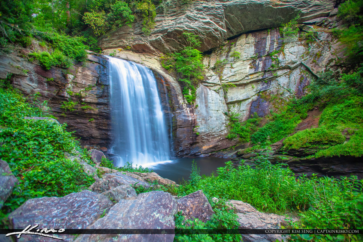 Looking Glass Falls Brevard North Carolina Rocks and Bushes