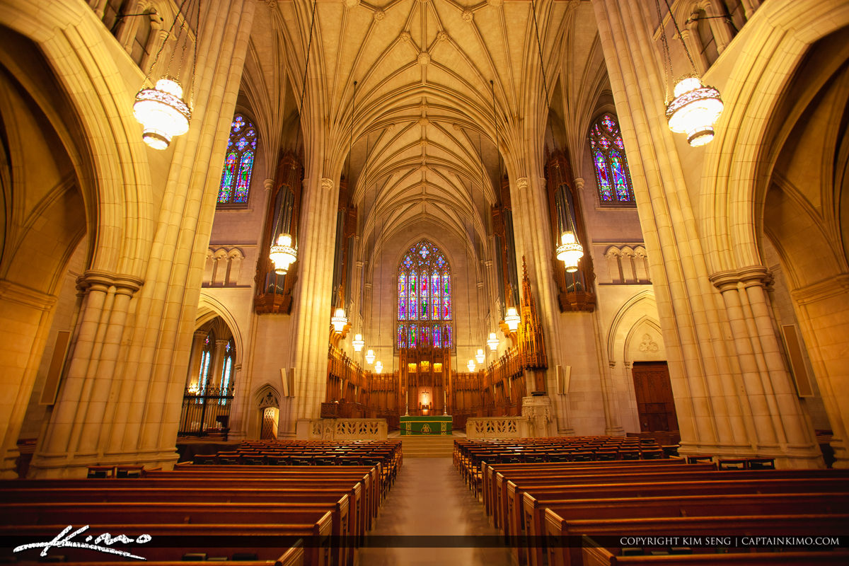 Inside Wide Duke University Chapel Interior Durham North Carolin