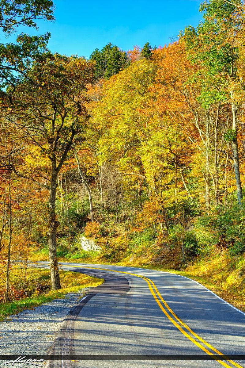 Blue Ridge Parkway Road Fall Colors Bright Orange Colors North C