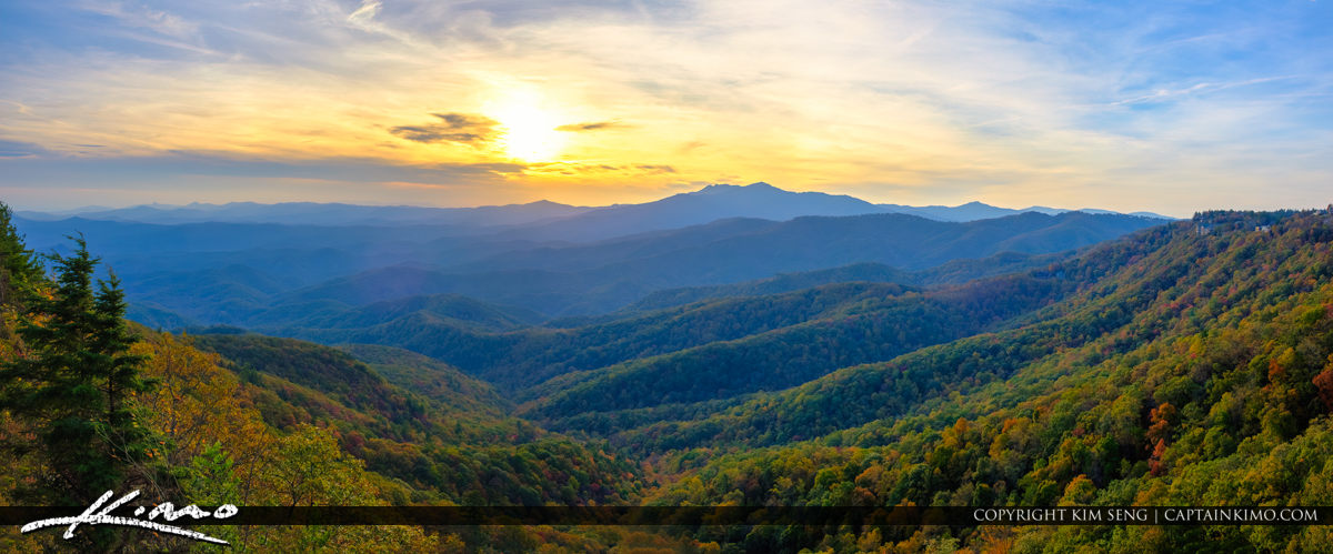 The Blowing Rock North Carolina Panorama Valley Mountain Sunset