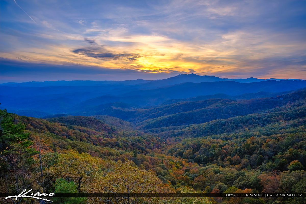The Blowing Rock North Carolina Mountain Valley View Sunset