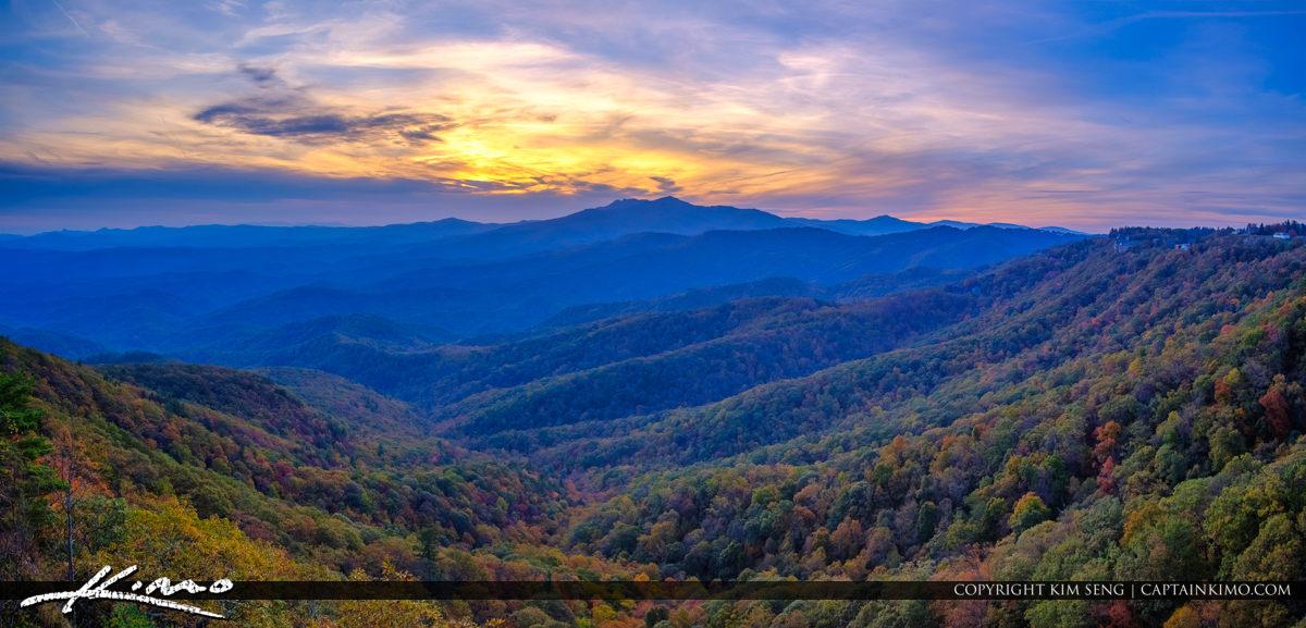 The Blowing Rock North Carolina Panorama Valley Sunset