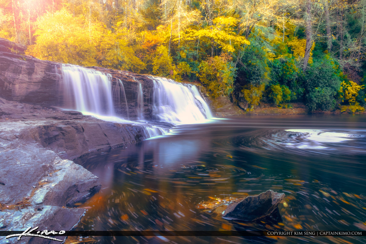 Dupont State Forest North Carolina Leaves Swirl River Hooker Waterfall