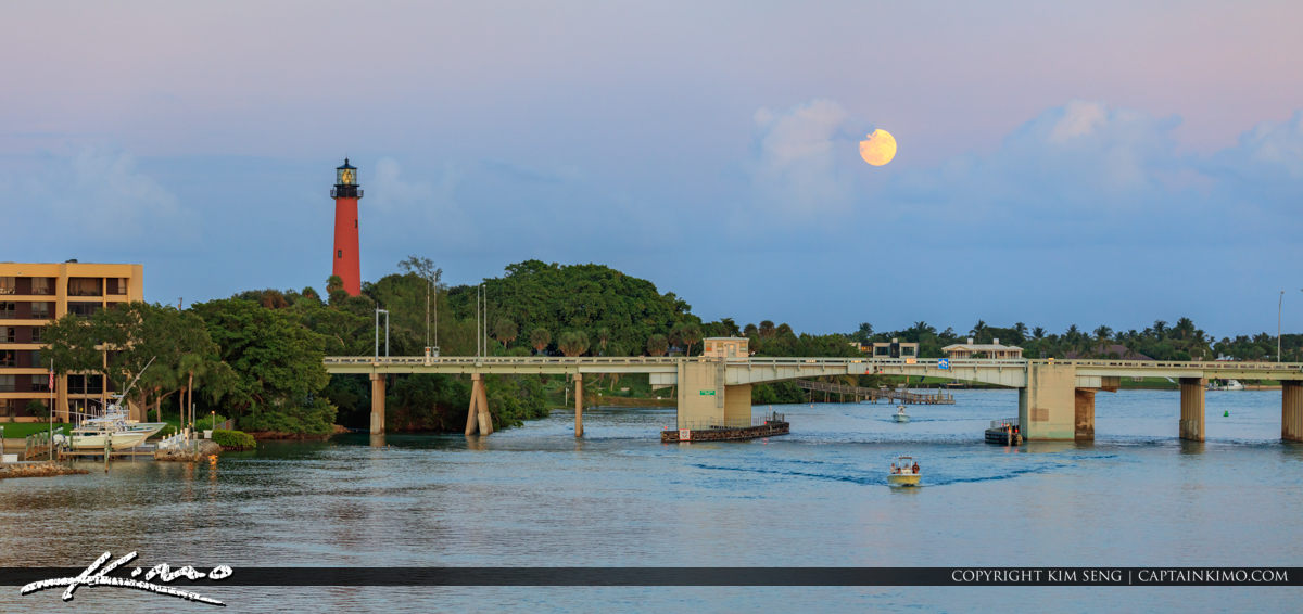 Beautiful Moon Rise Over the Water Jupiter Lighthouse Florida