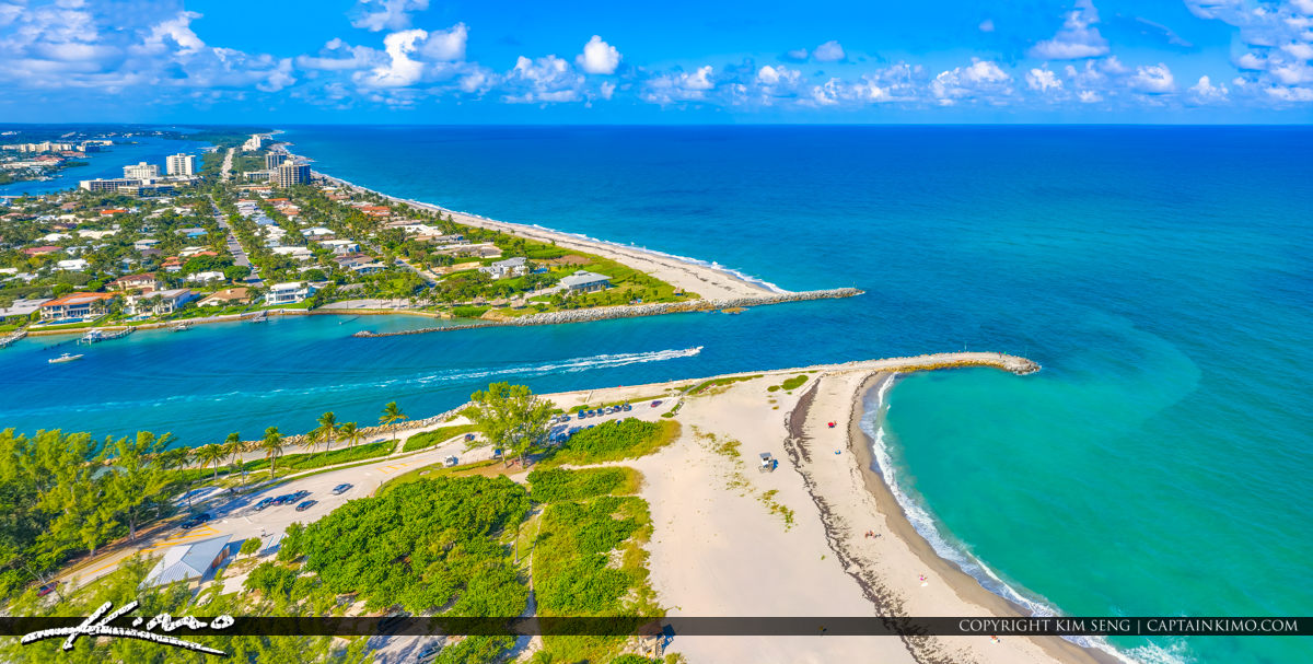 Panoramic Jupiter Inlet with Boat Blue Water at Beach