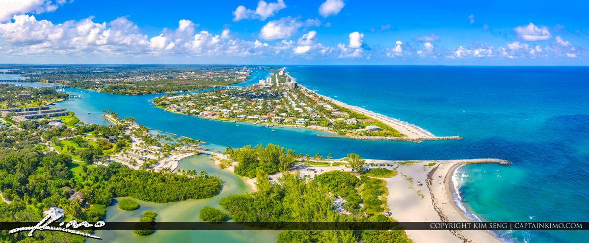 Aerial Photography at Jupiter Florida Beach Panoramic View