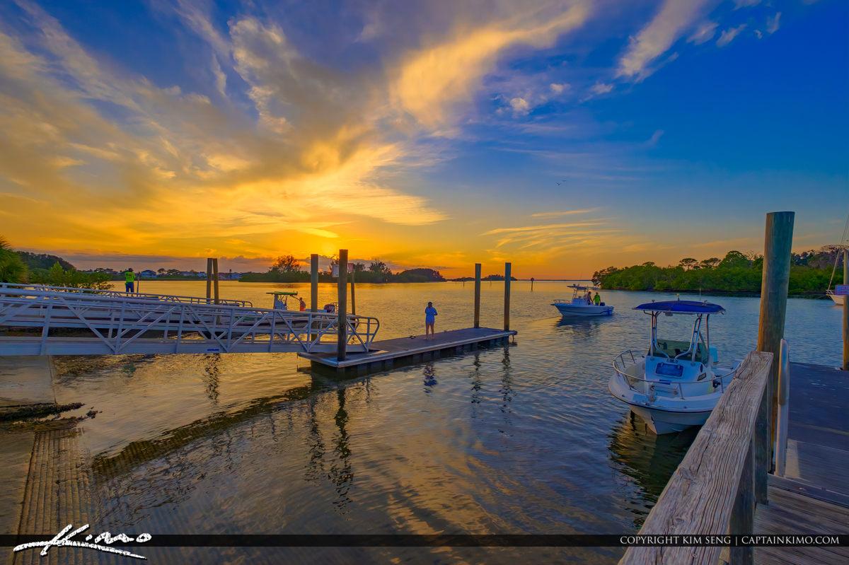 Anclote River Park Public Boat Ramp Sunset Holiday Florida Pasco