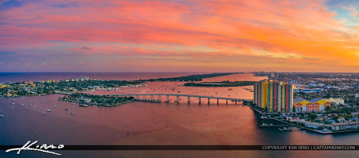 Singer Island Sunset Aerial Photo Panorama Blue Heron Bridge
