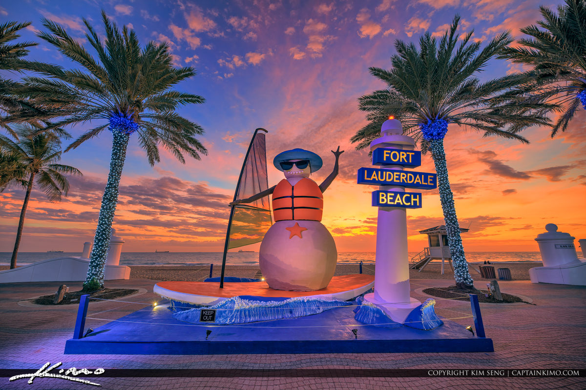Snowman Christmas at Fort Lauderdale Beach Broward County Florid