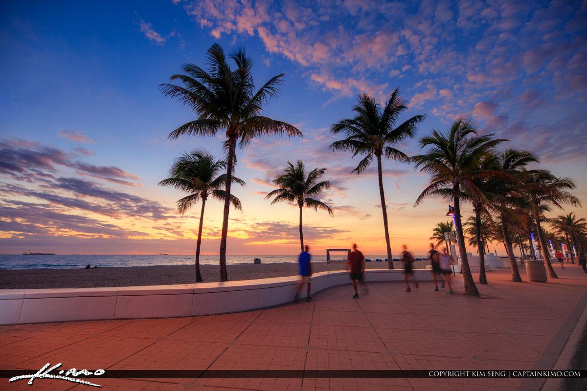 Morning Excercise Fort Lauderdale Las Olas Florida at Beach