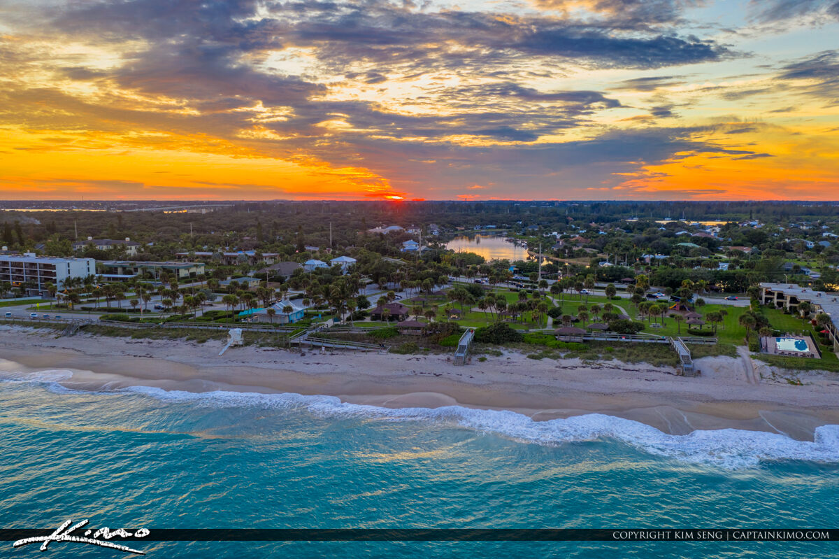 Jaycee Park Vero Beach Florida Sunset Aerial Beach