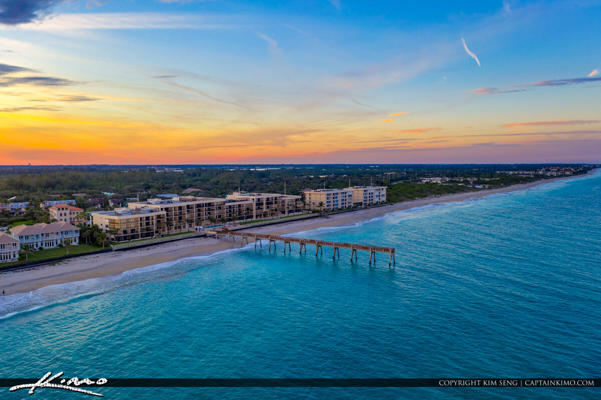 Vero Beach Florida Pier Blue Water Aerial Photo