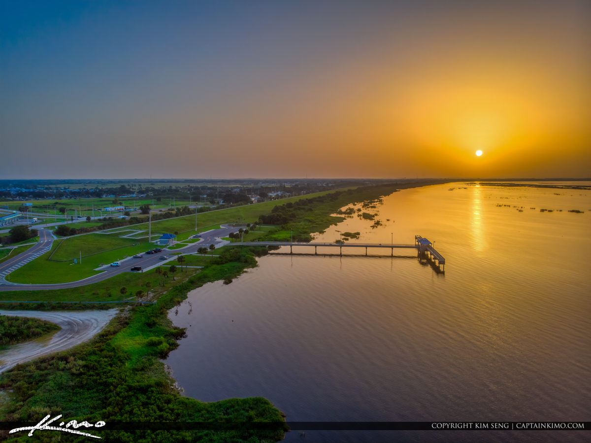 Aerial Photography at the Pier Lake Okeechobee Park Sunrise