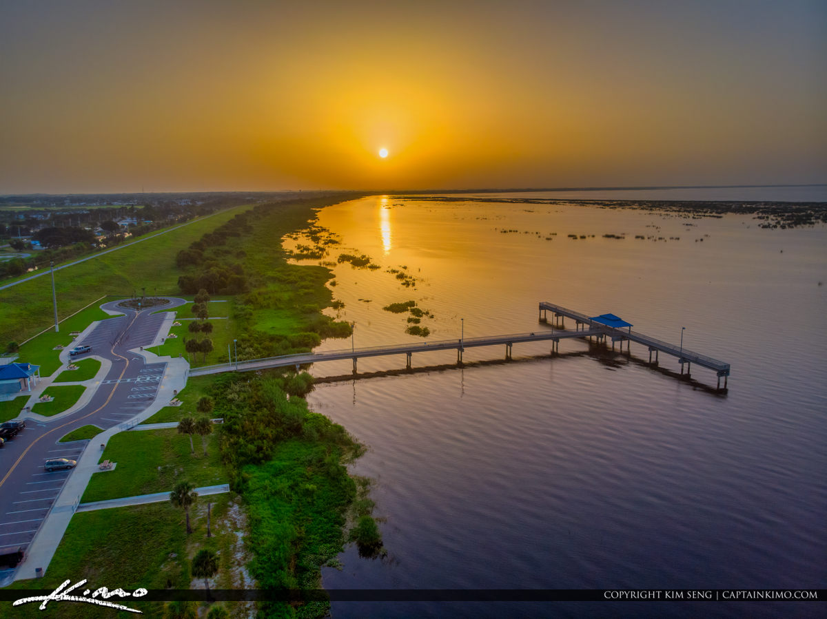 Aerial View Lake Okeechobee Park Sunrise