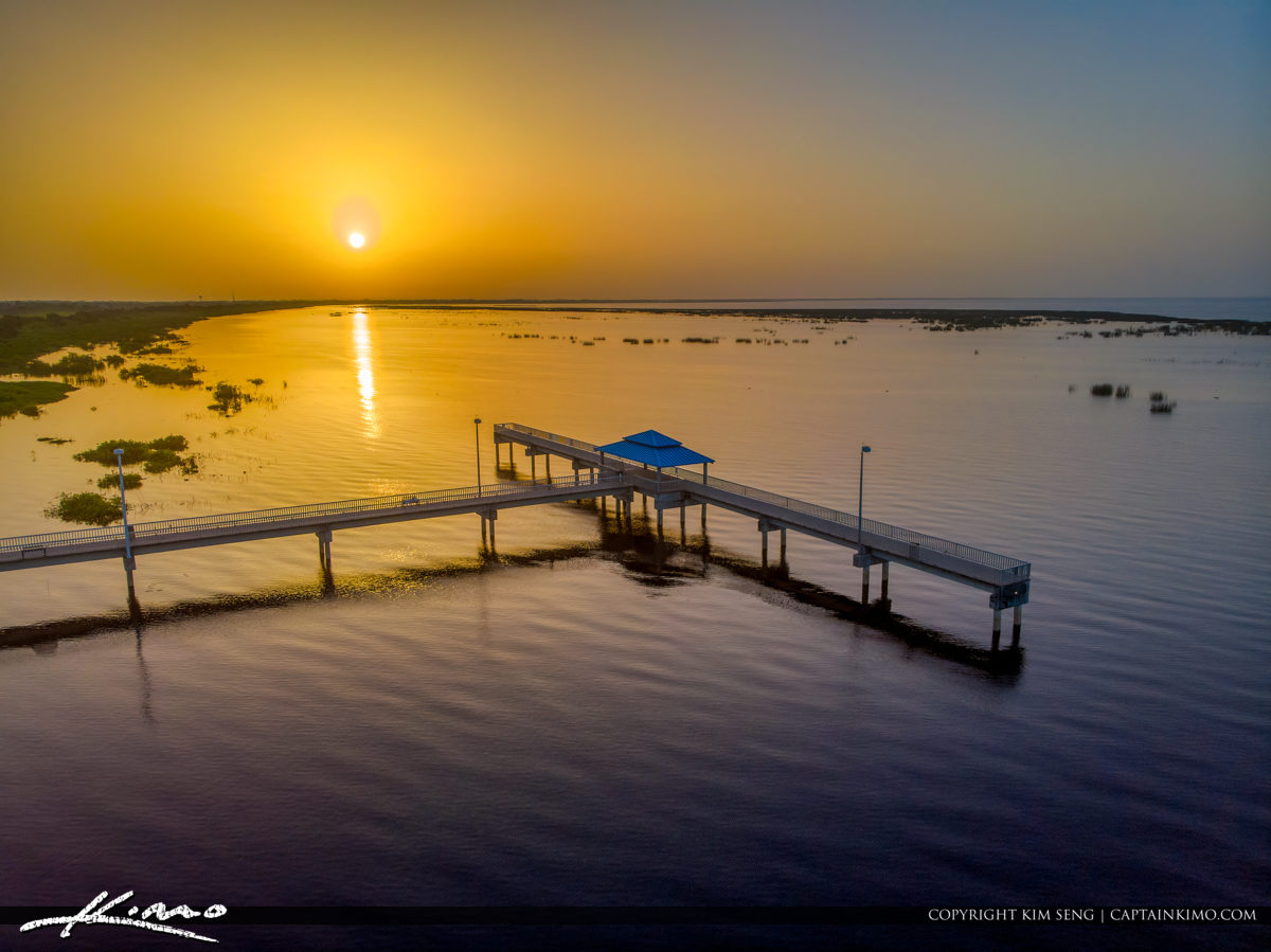 Lake Okeechobee Park Sunrise Aerial Closeup