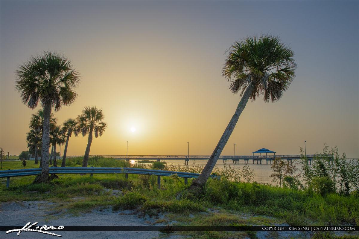 Lake Okeechobee Park Sunrise Double Palm Tree
