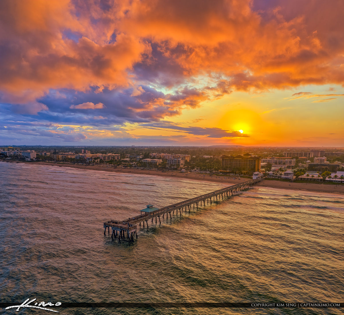 Deerfield Beach International Fishing Pier Sunset Aerial