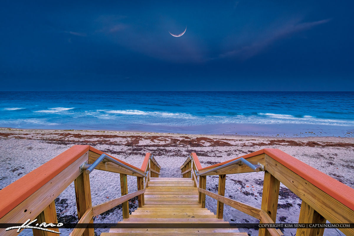 Cresent Moon Rise Over Beach at Town of Jupiter