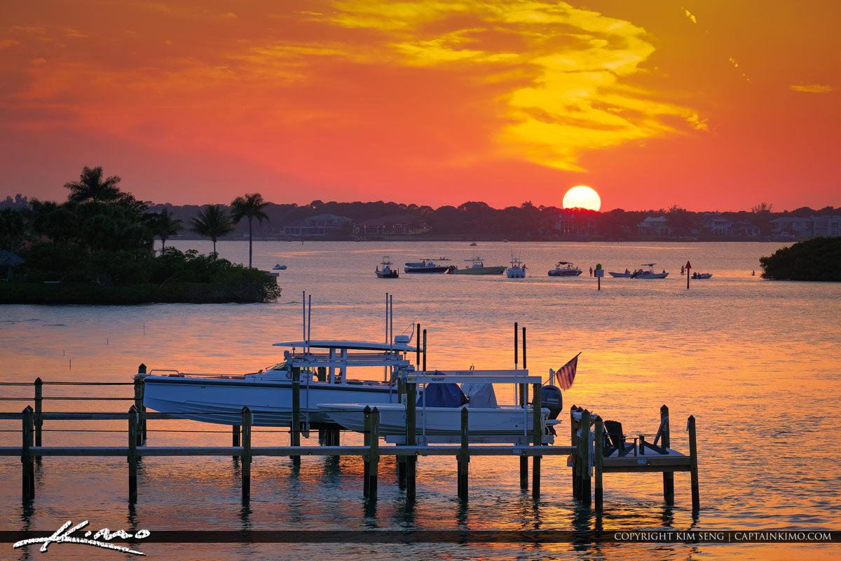 Sunset Loxahatchee River Boaters at Sandbar Jupiter Florida