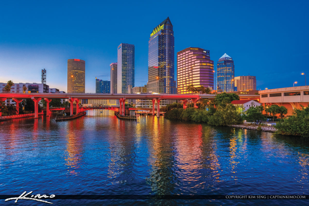 Tampa Florida Skyline Along the River Downtown