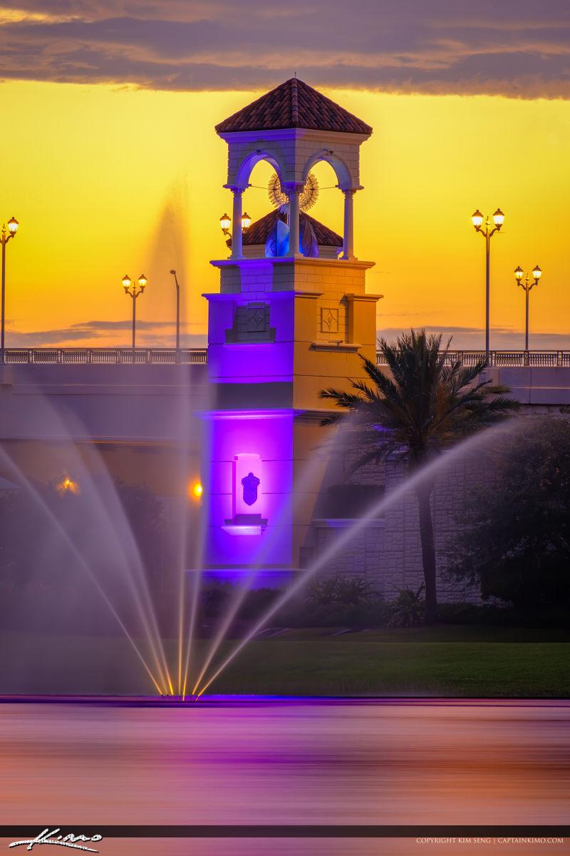 Palm Beach Gardens Bridge and Waterfountain