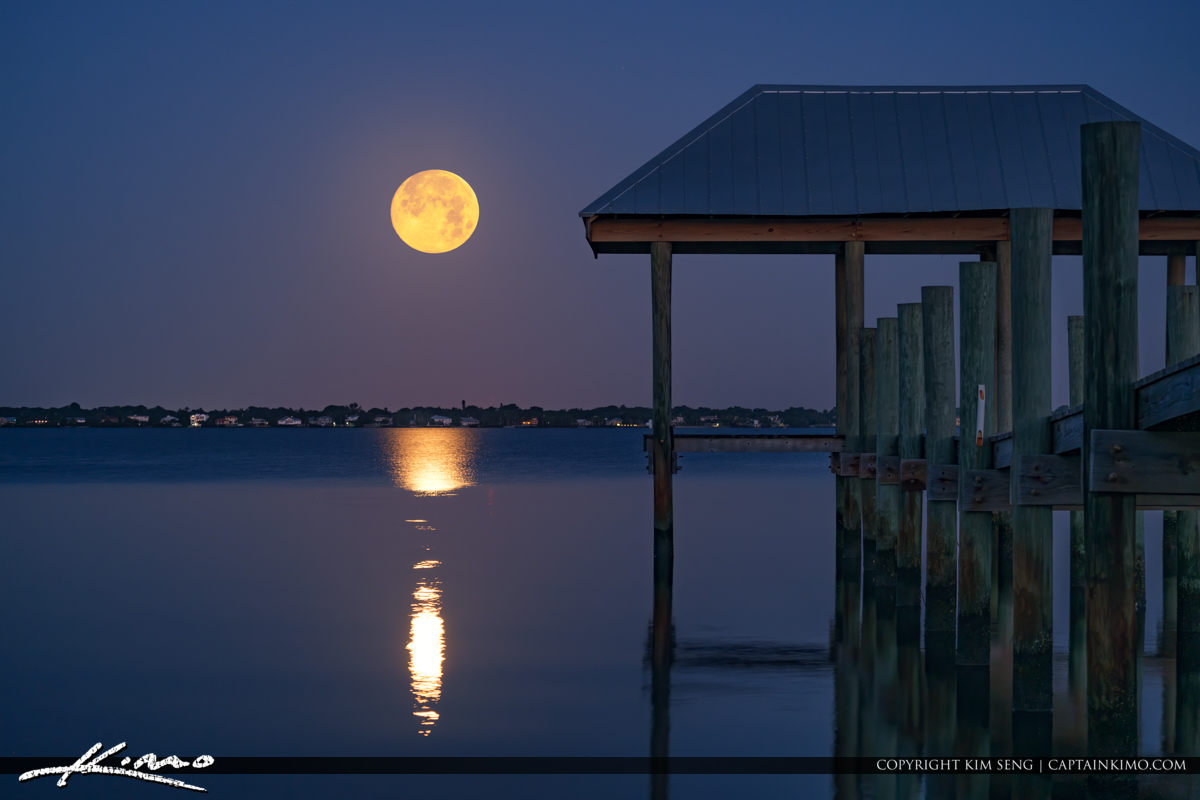House of Refuge Pier Moon Setting Over Waterway