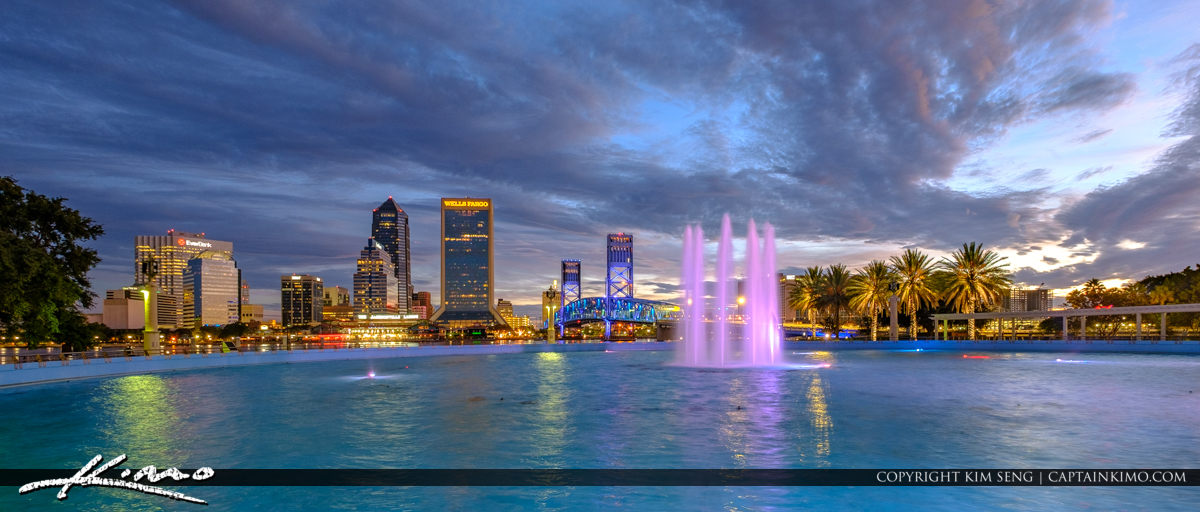 Beautiful Skyline View from Friendship Park Fountain Downtown Jacksonville